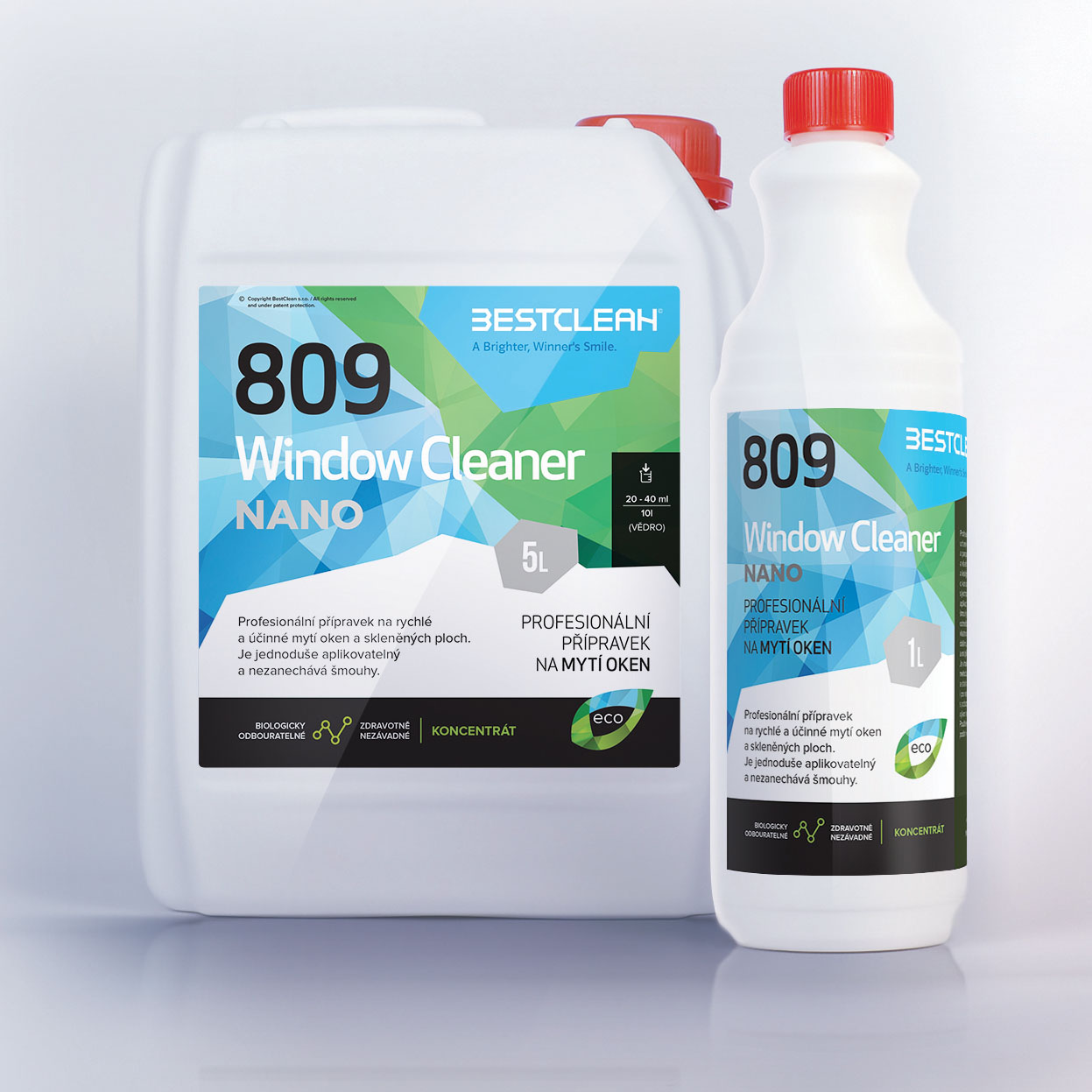 Bestclean 809 Window Clean nanotechnologie koncentrát 1L